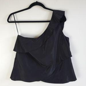 Zara black one shoulder top with ruffle